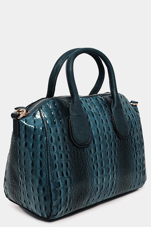 Blue Patent Vegan Mock Croc Large Handbag