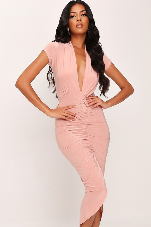 Ruched Slinky Plunge Dress