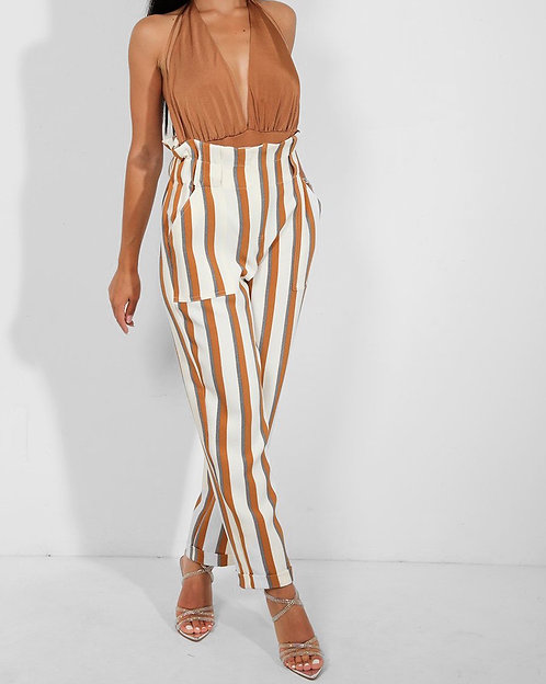 River Island White Brown Stripe Trousers