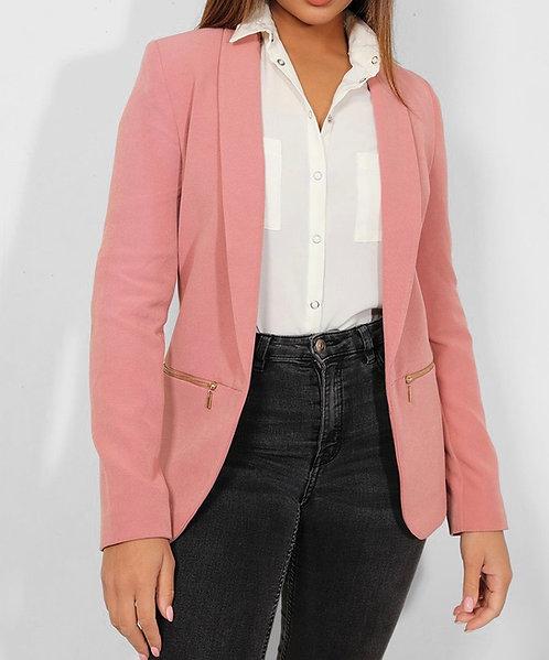 Pink Open Front Blazer