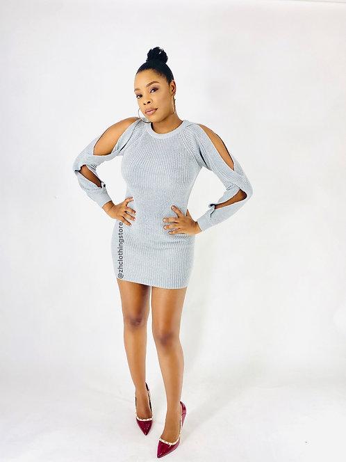 Grey Open Sleeve Dress