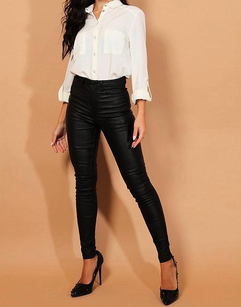 High Waist Coated Jeans