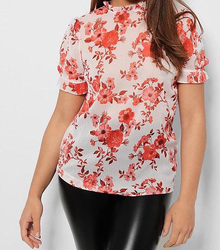 Red Floral Print Sheer Chiffon Blouse