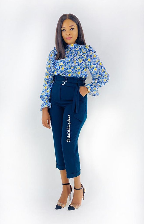 Navy Paperbag Wide Leg Trousers