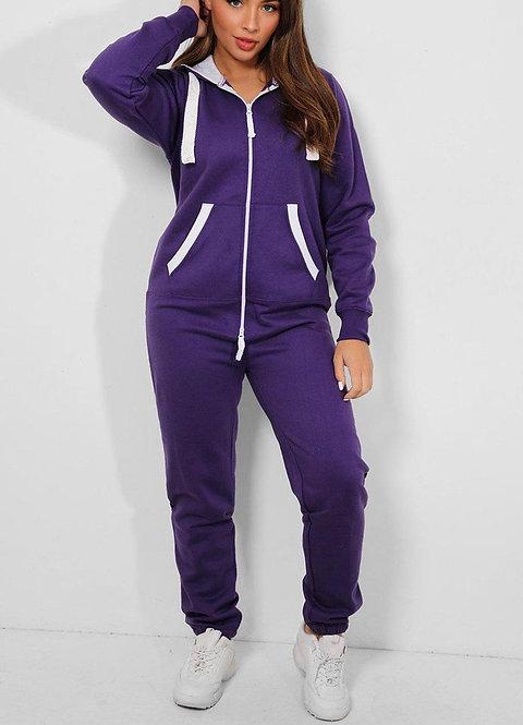 Purple Contrast Hooded Onesie