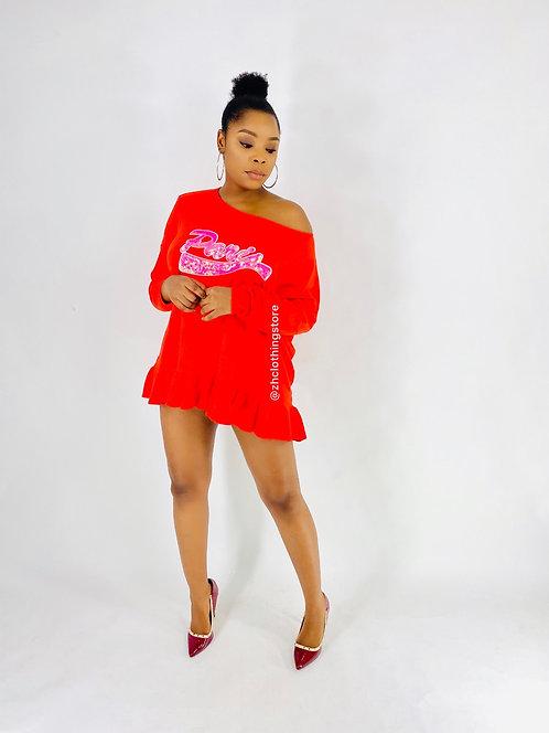Red Paris Slogan Dress Shirt