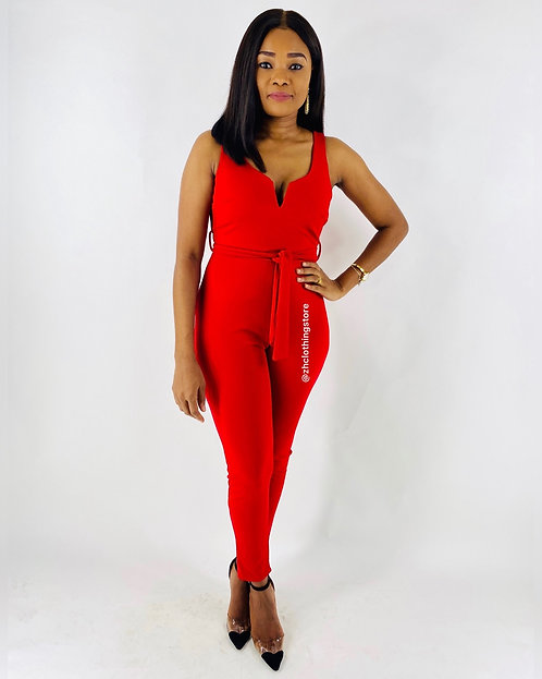 Red Self-Belt V-Neck Jumpsuit
