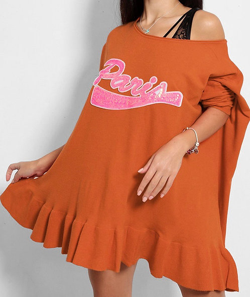 Brown Paris Slogan Tunic