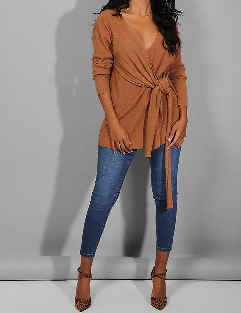 Brown Wrap Front Top