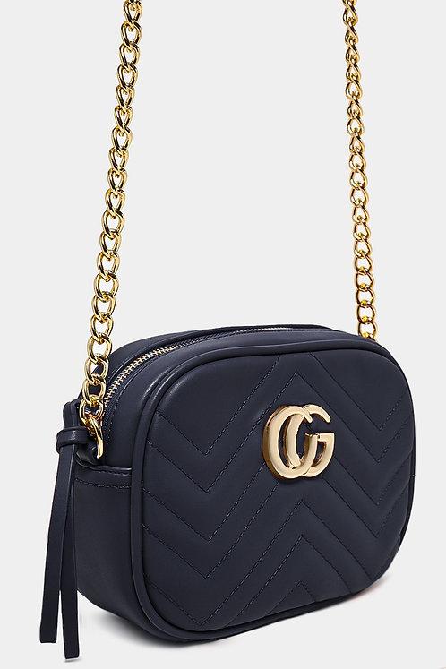 Gold Logo Blue Chevron Quilt Mini Squoval Shoulder