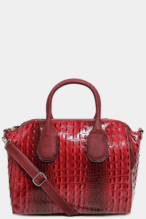 Red Patent Vegan Mock Croc Large Handbag