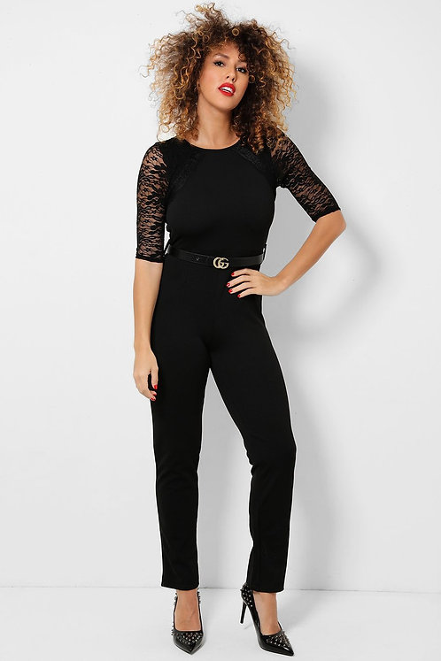Boohoo Black Lace Sleeves  Jumpsuit