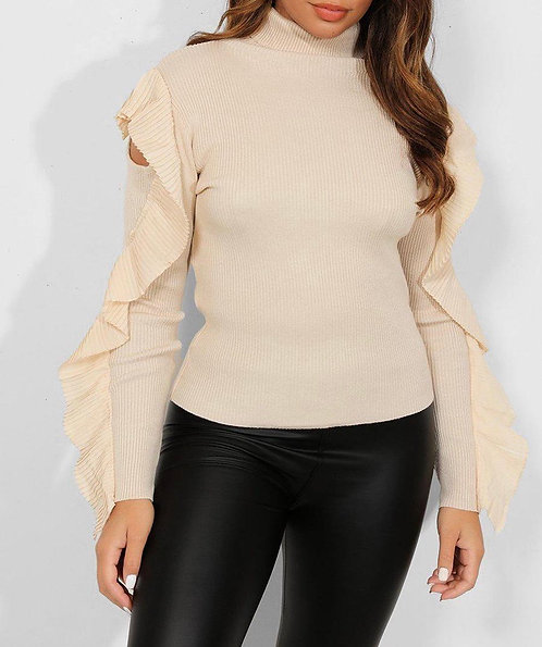 Beige Pleated Frill Top