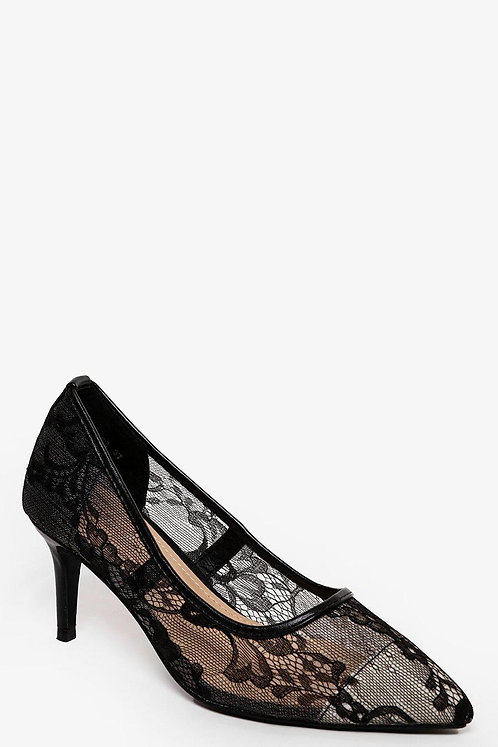 Black Lace Mid Heel Pumps