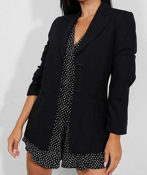 Navy Single Breasted Dual Buttons Blazer