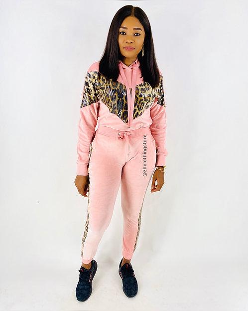 Sequin Leopard Pink Velvet 2 Piece Tracksuit