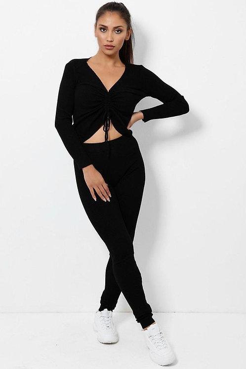Black Drawstring 2 Piece Loungewear