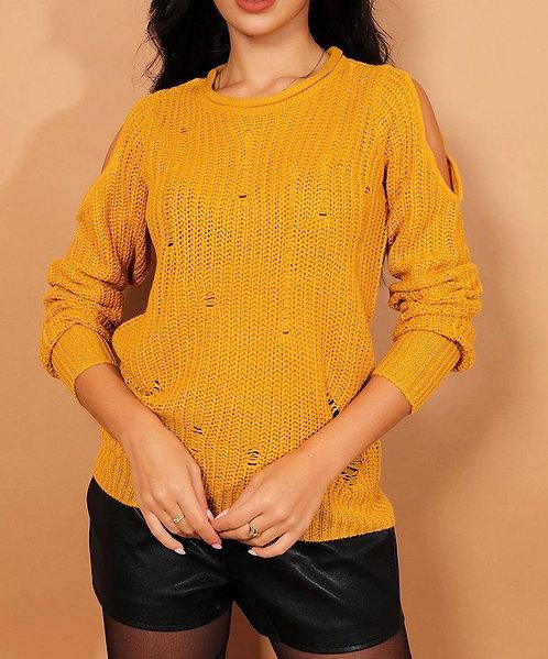 Mustard Distressed Pullover
