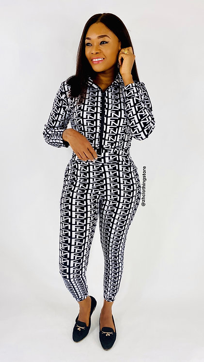 Black Letters Print White Two Piece Tracksuit