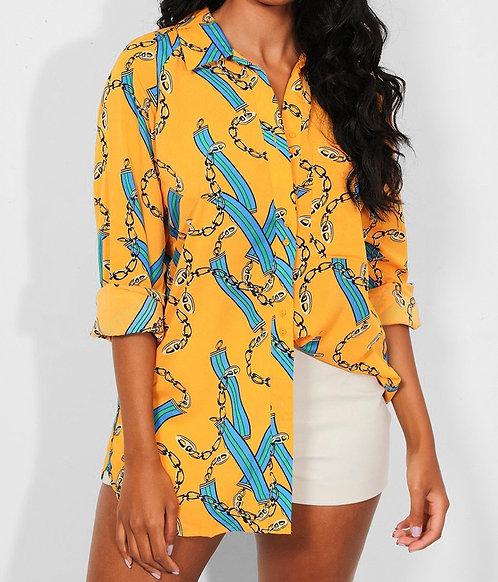 Mustard Chain Print Shirt
