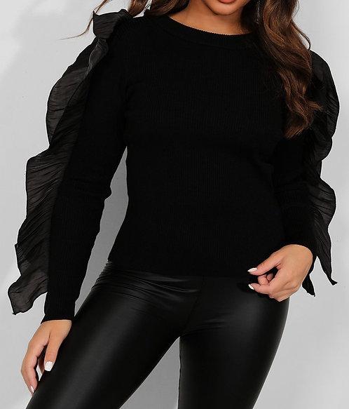 Black Ruffle Sleeves Top