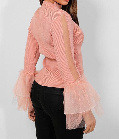 Pink Sheer Stripe Frill Top