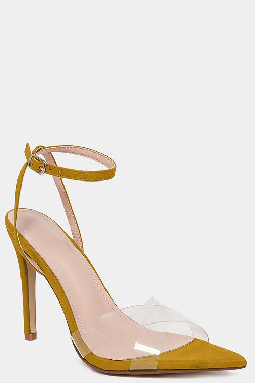 Crossover Perspex Yellow Heels
