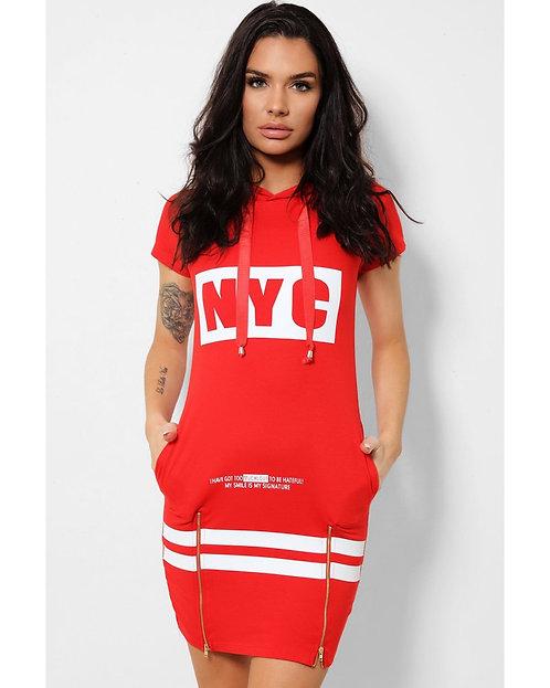Red Slogan Dress