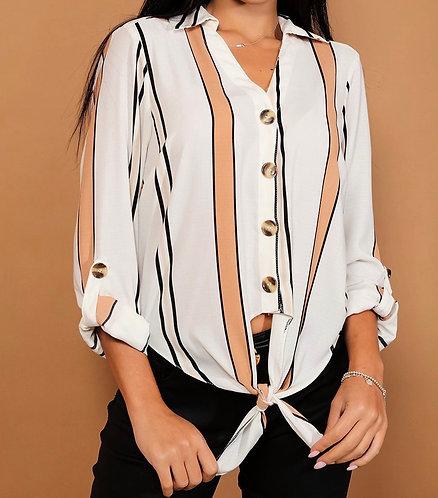 Cream Stripy Knot Shirt