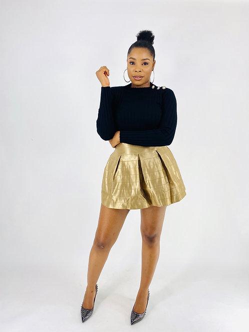 Metallic Gold High-Rise Waist Pleated Bandage Skirt