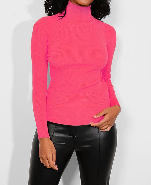 Hot Pink High Neck Pullover
