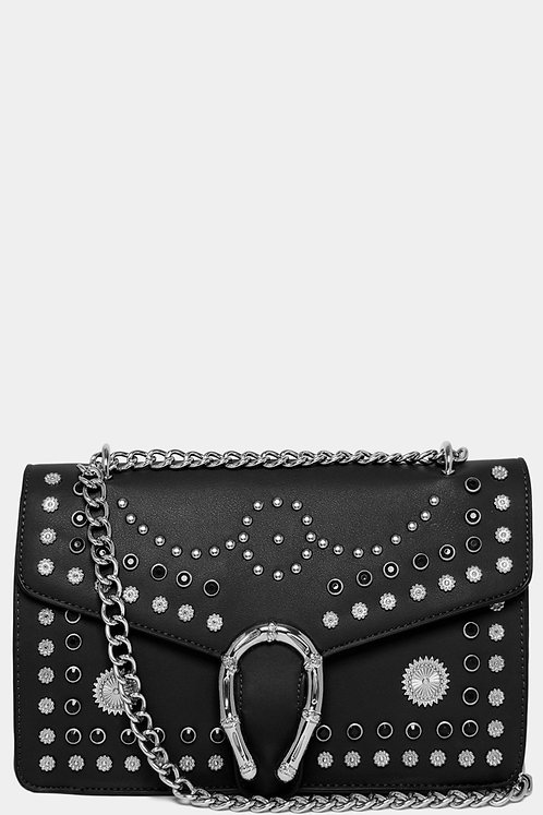 Black Mixed Studs Embellished Chain Strap Crossbody Bag