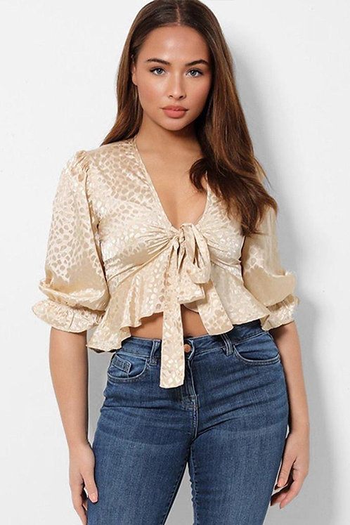 Champagne Bow Tie Front Ruffle Top