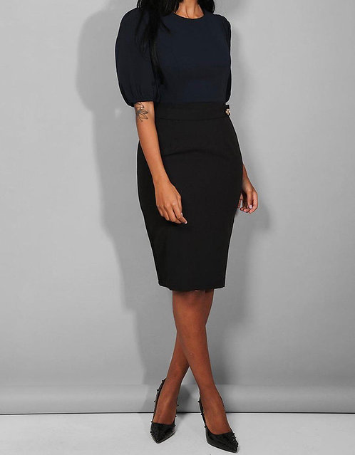 Navy Black Belted Dress
