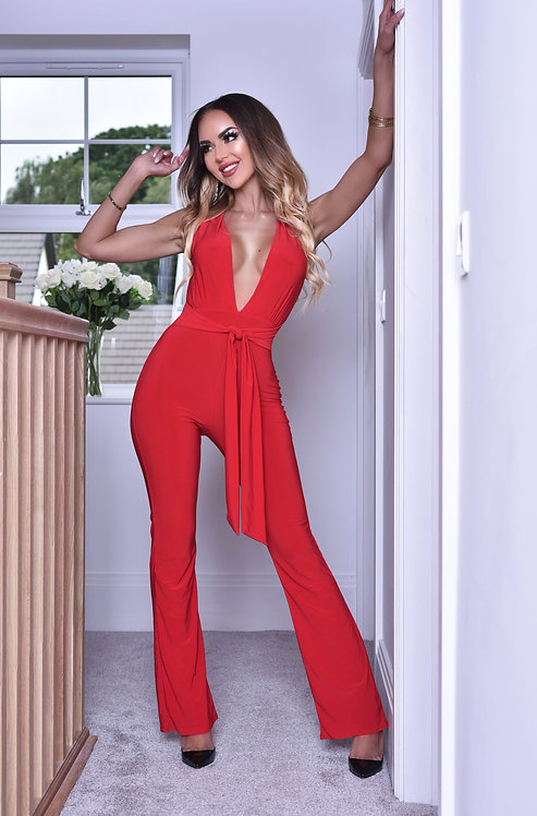 Anthea Plunge Belted Jumpsuit