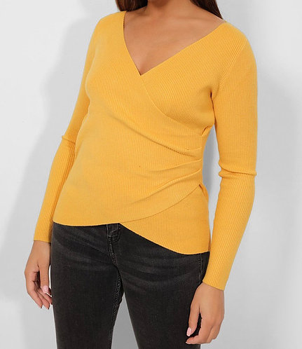 Yellow Wrap Front Top