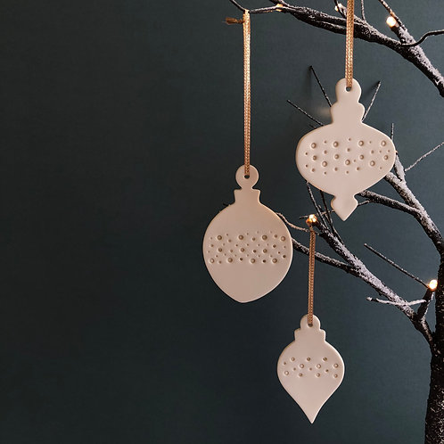 Set of three Christmas bauble decorations