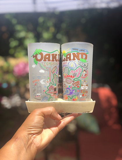 Oakland Map Drinking Glass
