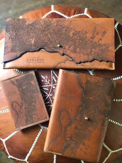 Old School Etched Oakland Leather Map Art