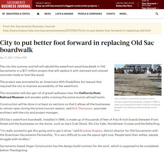 Old Sacramento Boardwalk is Ground Breaking