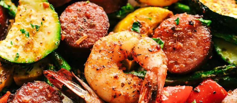 Cajun Shrimp, Sausage, and Vegetable Sheet Pan