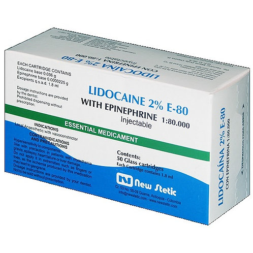 Lidocaine 2 %  With Epinephrine 1:80000 New Stetic
