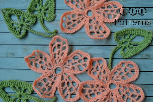 Crochet flower and leaf