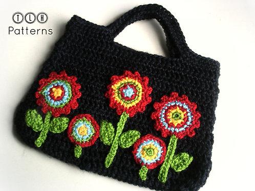Crochet bag with applique flowers