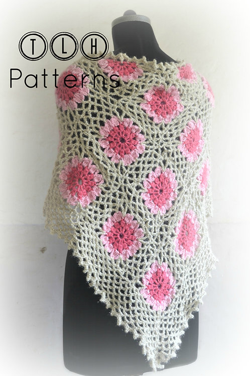 Lacy loops and flowers shawl