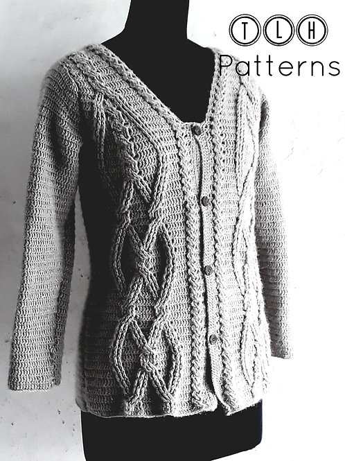 Twisted cables crochet cardigan