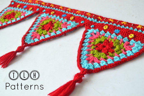 Crochet triangles wall hanging