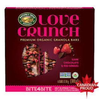 NATURE'S PATH LOVE CRUNCH GRANOLA BARS DARK CHOC & RED BERRIES