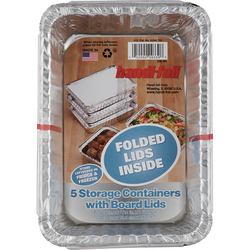 HANDI-FOIL 5 STORAGE CONTAINERS WITH BOARD LIDS