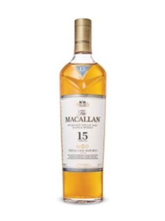 THE MACALLAN 15 YEAR OLD HIGHLAND SINGLE MALT SCOTCH WHISKY TRIPLE CASK